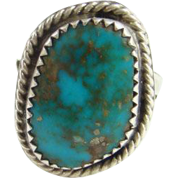 Southwestern Navajo Morenci Turquoise Ring Size 7 Great Matrix Sterling Silver Indian Jewelry