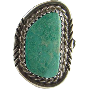 Navajo Turquoise Ring Beautiful Green Stone Sterling Silver Size 6.25 Native American