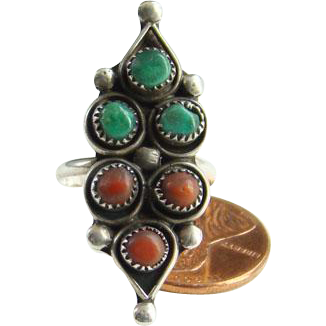 Navajo Style Turquoise Coral Snake Eye Ring Size 7.25 Sterling Silver Indian Jewelry