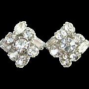 Clear Rhinestone Vintage Clip Earrings Silvertone Setting C1960s Evening Wear