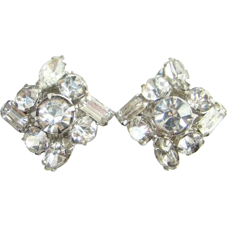 Clear Rhinestone Vintage Clip Earrings Silvertone Setting C1960s Evening Wear