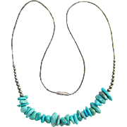 Southwestern Style Turquoise Nugget Choker Necklace Silver Gilt Bead Accents