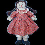 C1940-50 Raggedy Ann Doll Brown Yarn Braided Hair Red Calico Dress Handmade