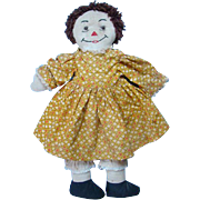 C1940-50 Raggedy Ann Doll Handmade Brown Yarn Hair Yellow Dress Missing Arm