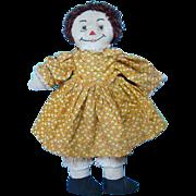 C1940-50 Raggedy Ann Doll Handmade Brown Yarn Hair Yellow Dress Missing Arm