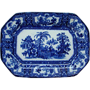 Antique W Adams Kyber Flow Blue Ironstone Platter Sweet Meat Tray 10 Inch