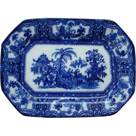 Antique W Adams Kyber Flow Blue Ironstone Platter Sweet Meat Tray 10 Inch