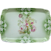 Made in Germany Porcelain Pin Dresser Perfume Vanity Tray Floral Roses Vintage