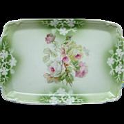 Made in Germany Porcelain Pin Dresser Perfume Vanity Tray Floral Roses Vintage
