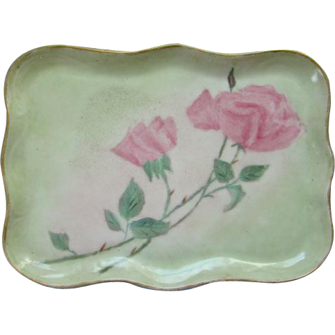 Vintage Old Porcelain Pin Dresser Perfume Vanity Tray Two Pink Roses Hand Painted