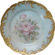 Antique Austria Hand Painted Porcelain Plate Pink Roses Scalloped Gold Rim 7.75 Inches