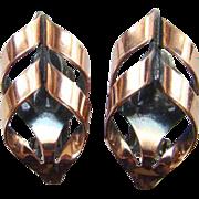Renoir Modernist Copper Clip Earrings Vintage Signed