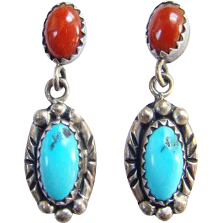 Old Navajo Turquoise Red Coral Pierced Dangle Earrings Signed Sterling Native American