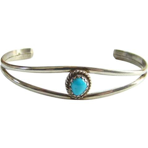 Southwestern Child Baby Turquoise Cuff Bracelet Small Size Sterling Silver