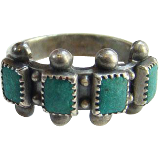 Southwestern Turquoise Row Stacking Ring Signed Sterling Size 5.25