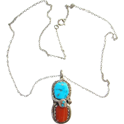 Effie Calavaza Zuni Turquoise Red Coral Snake Necklace Pendant Sterling Silver Native American