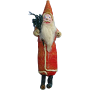 Antique Spun Cotton Santa Claus Christmas Ornament Holding Tree 7.5 in