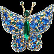 Juliana Rhinestone Butterfly Pendant Brooch Blue Green DeLizza Elster Book Piece