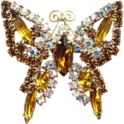 Vintage Rhinestone Butterfly Pin Brooch Amber and Aurora Borealis Goldtone