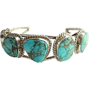 Navajo Morenci Turquoise Cuff Bracelet Sterling Silver Native American Vintage