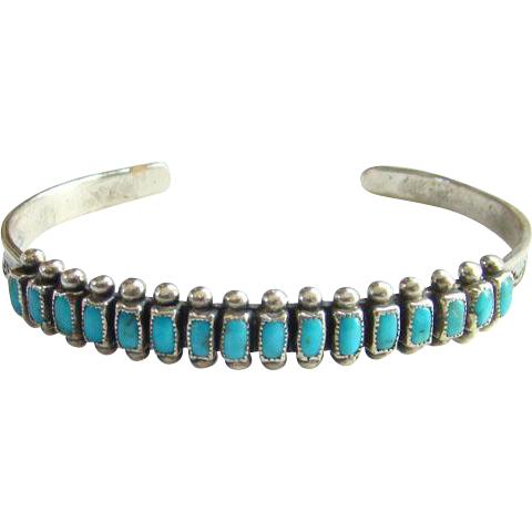 Old Native American Zuni Turquoise Row Cuff Bracelet Sterling Silver with Provenance