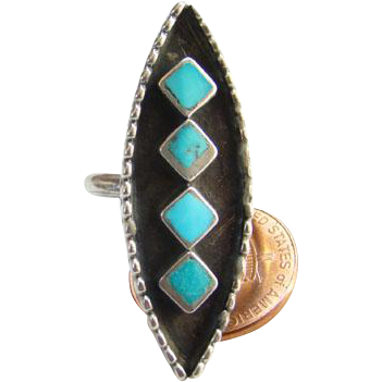 Old Zuni Turquoise Ring Sterling Silver Inlay Size 6.25 Native American