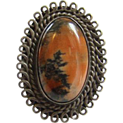 Vintage Southwestern Sterling Silver Petrified Wood Ring Size 6