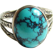 Old Navajo Turquoise Ring Size 6.5 Sterling Silver Black Matrix Southwestern