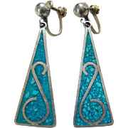 Vintage Turquoise Mosaic Chip Sterling Silver Earrings Plata de Jalisco VHLC Guad Mexico
