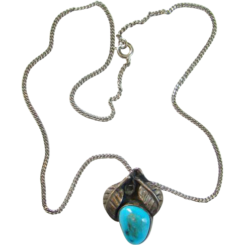 Navajo Style Old Turquoise Pendant Necklace in Sterling Silver 15 Inch Blue Stone