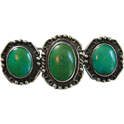 Old C1930s Green Turquoise Navajo Style Bar Pin Three Stones Sterling