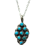 Old Zuni Turquoise Pendant Necklace Small Size Snake Eye Sterling Silver Southwestern