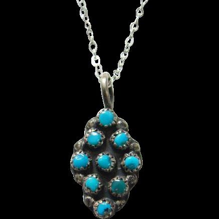 Old Zuni Turquoise Pendant Necklace Small Size Snake Eye Sterling Silver Southwestern
