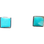 Old Southwestern Pierced Post Stud Turquoise Earrings Sterling Silver Square Shape
