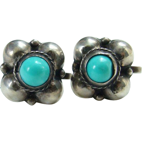 Old Mexican Sterling Turquoise Screw Back Earrings Marked Silver Mexico