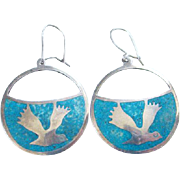 Vintage Taxco Mexico Sterling Silver Turquoise Inlay Pierced Hoop Earrings Bird in Flight Mexican Jewelry