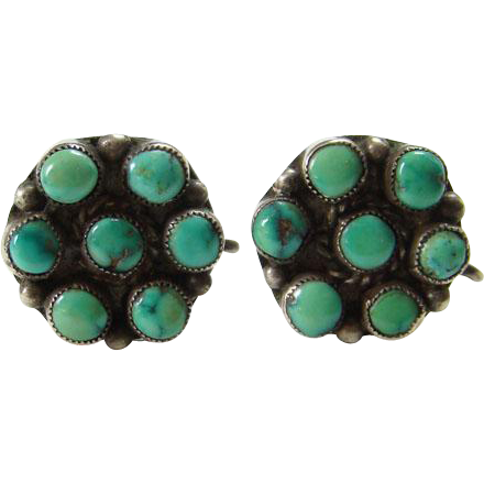 Vintage Zuni Style Snake Eye Turquoise Earrings Sterling Silver Screwback