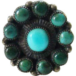 Zuni Style Old Snake Eye Turquoise Ring Small Size 3.5 Sterling Silver