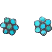Old Southwestern Turquoise Inlay Pierced Earrings Sterling Silver Flower Petal