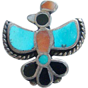 Old Zuni Native American Inlay Bird Pin Turquoise Coral Jet Sterling Silver
