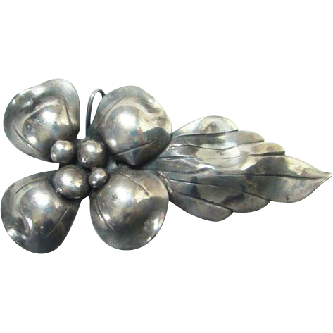 Old John Wanamaker Sterling Silver Flower Leaf Pendant Pin Brooch Signed