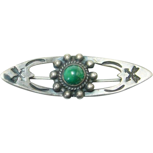 Navajo Green Turquoise Sterling Silver Bar Pin Small Size Stamp Decorated Southwestern