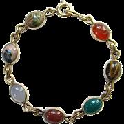 Vintage Gold Filled Scarab Bracelet WRE 1/20 14K Carnelian Tiger Eye Quartz Agate