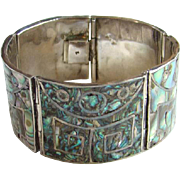 Sterling Silver Abalone Panel Link Bracelet Mexico Mexican Jewelry