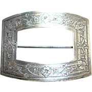 Art Nouveau Sterling Silver Repousse Buckle Brooch Pin Tube T and C Clasp Marked