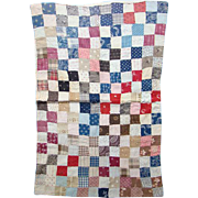 Antique Patchwork Doll Quilt Hand Stitched Great Calico Fabrics One Patch