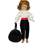 1957 Vogue Jill Doll in 7410 Blond Angel Cut Toreador Pants White Ruffled Blouse Black Hatbox