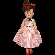 C1958 Vogue Jan Doll Jointed Vinyl Jill Friend Brunette Ponytail in Striped Cotton Dress