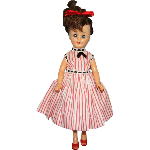 C1958 Vogue Jan Doll Jointed Vinyl Jill Friend Brunette Ponytail in Striped Cotton Dress