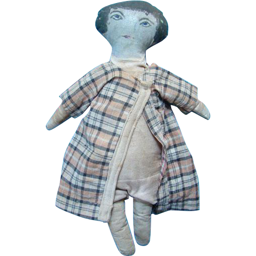Old Primitive Cloth Doll Oil Painted Head Features Rag Stuffed 14 Inch One Piece Body